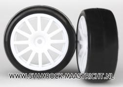 Traxxas Tires and wheels, assembled, glued (12-spoke white wheels, slick tires) (2) - TRX7572